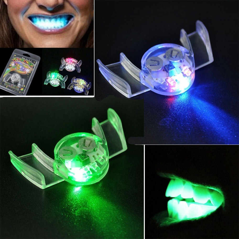 Novelty Prank Toys Halloween Led Flashing Teeth Mouth Braces Piece Glow Teeth Mouthpiece For Halloween Party Rave Funny Gifts