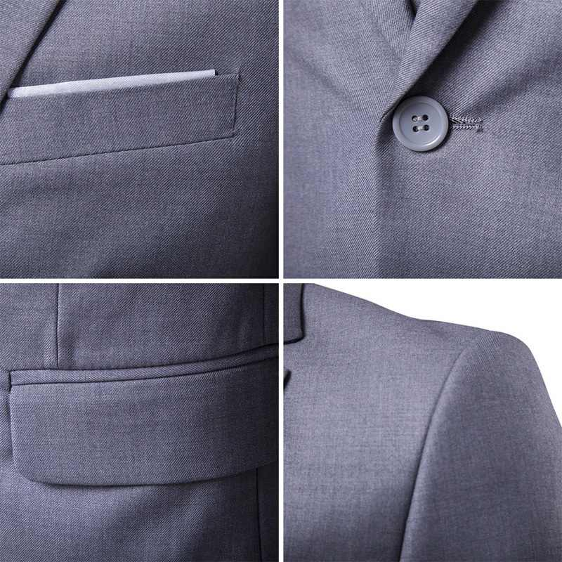MJARTORIA 3 個ビジネスブレザー + ベスト + パンツスーツセット男性秋のファッションソリッドスリムウェディングセットヴィンテージ古典的なブレザー男性