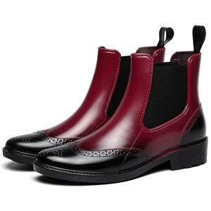 Image 1 - Zapatos de goma para otoño, Botas de lluvia para mujer, Botines Chelsea impermeables, botas de plataforma plana para niña, botines de primavera para mujer laarzen