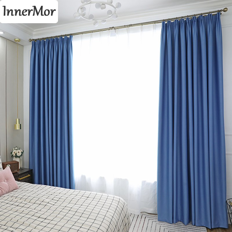 Innermor Solid Blackout Curtains For Living Room High Shading Thick Curtains For Bedroom Modern Curtain For Kitchen Customized
