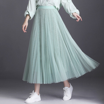 2020 High Quality Autumn 3 Layered Tulle Skirts Womens Shining Bronzing Star Mesh Tutu Skirt Ball Gown Pleated Long Maxi Skirts одеяло евро shining star shining star mp002xu086zx