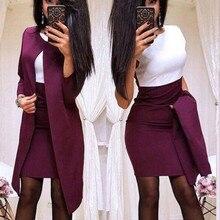 Модные женские юбочные костюмы, полосатые блейзеры на одной пуговице и тонкие мини-юбки, комплекты из двух предметов, женские наряды#2
