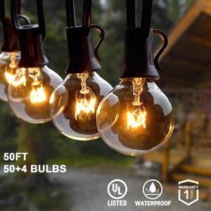 Гирлянда G40 с круглыми лампами, для вечерние, сада, вечеринки, свадьбы, рождественской улицы, для внутреннего дворика, теплый белый свет для у...