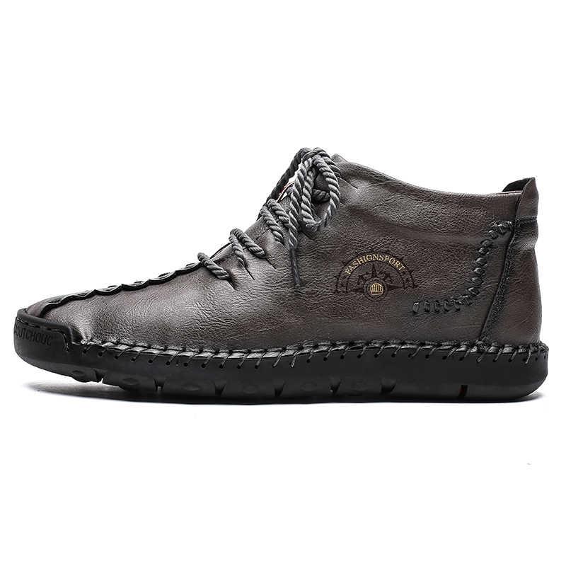 Nieuwe Mannen Casual Lederen Schoenen Winter Mode Comfortabele Platte Laarzen Mannen Lace-up Schoenen Herfst Mannelijke Sneaker Wandelschoenen met Bont