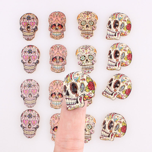 50pcs skull 2Hole Wooden Buttons for Scrapbooking Crafts DIY Baby Children Clothing Sewing Accessories Button Decoration E
