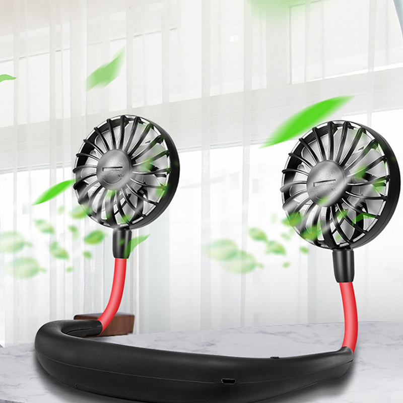 <font><b>2000</b></font> mAre USB Portable Fan Hands-free Neck Hanging USB Charging Mini Portable Sports Fan <font><b>3</b></font> gears Usb Air Conditioner image