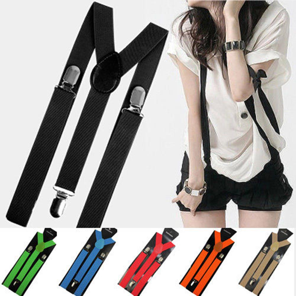 Hot Sale Mens Womens Unisex Clip-ons Suspenders Elastic Y-Shape Adjustable Braces Colorful Female Male Fashion Accessory Apparel