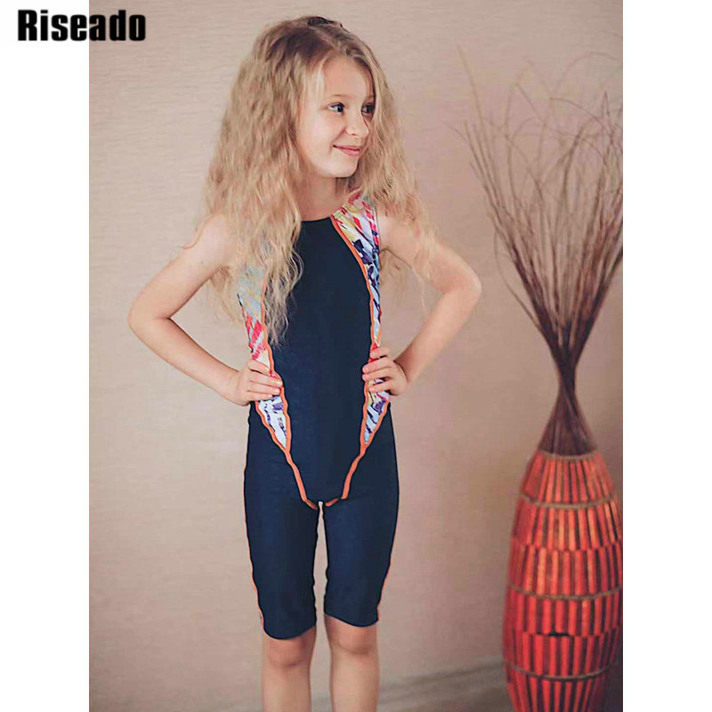 Riseado New Competition One Piece Swimsuit for Children Swimwear Girls Racer Back Patchwork Sport Swimming Suits