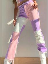 Fashion Patchwork Jeans Straight Women's Jeans Baggy Vintage High Waist Boyfriends Streetwear 2021 Female