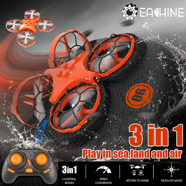 Eachine E016F 3-in-1 EPP Flying Air Boat Land Driving Mode Detachable One Key Return RC Quadcopter RTF