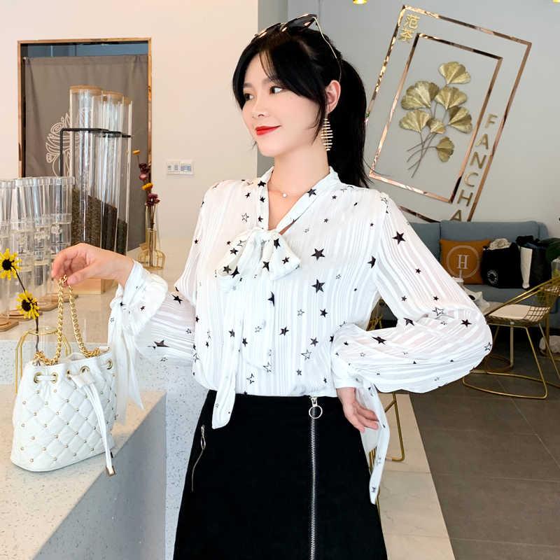 Blusas de chifón de moda Coreana de otoño con estampado para Mujer Tops y blusas talla grande XXL de manga larga camisetas blancas para mujer