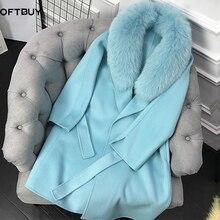 Oftbuy casaco de pele real de caxemira, jaqueta feminina gola de pelo natural de raposa, misturas de lã, cinto longo para uso externo para mulheres, streetwear 2020