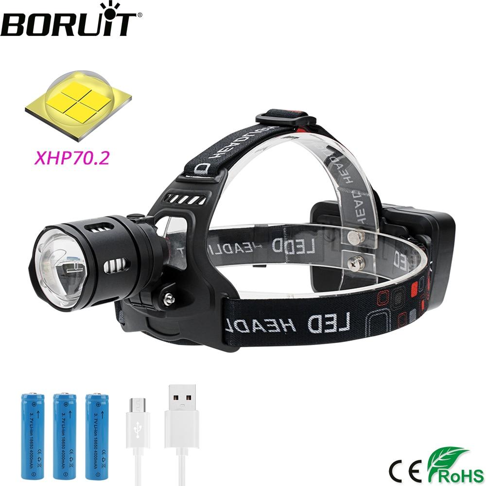 30W Micro USB Head Torch Headlamp XM-L2 LED For Fishing Running Hunting 200M