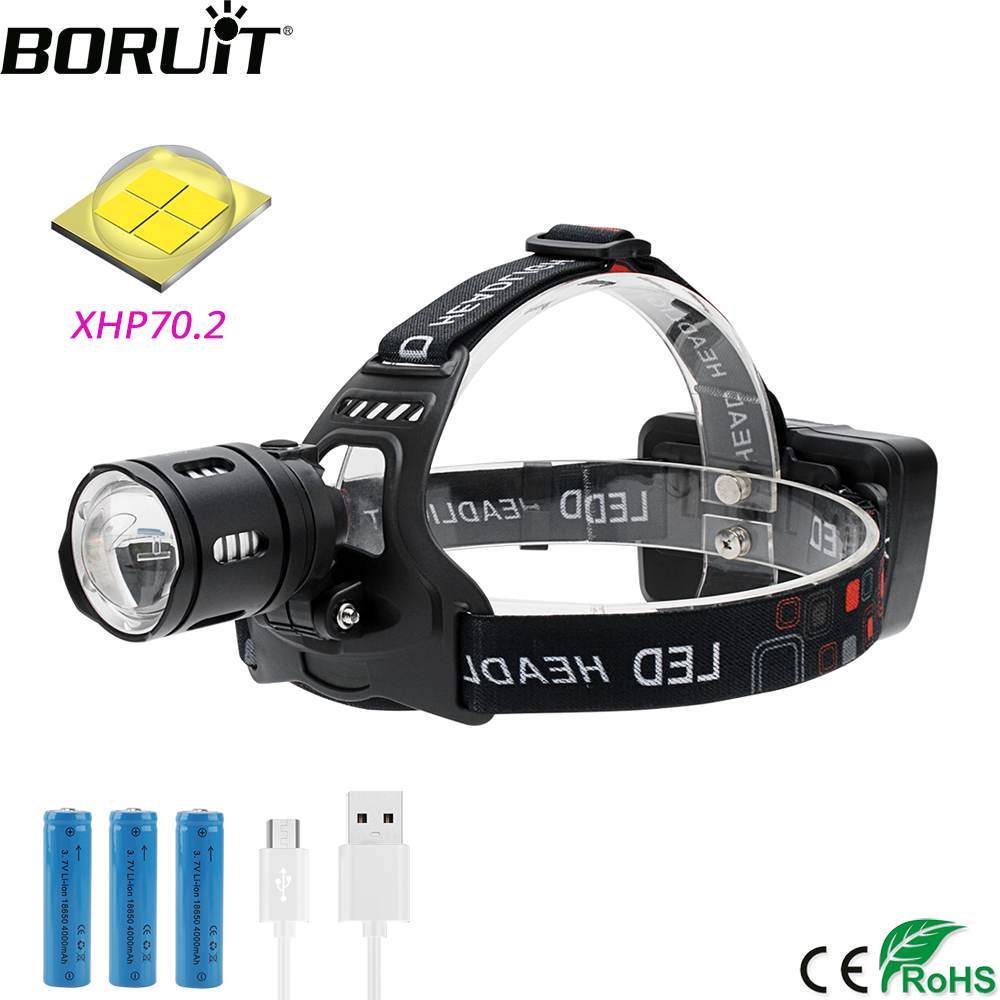 BORUiT T30 LED Headlamp High Power XHP70.2 3500LM Headlight 3-Mode Zoom Power Bank Head Torch Rechargeable 18650 Hunting Lamp