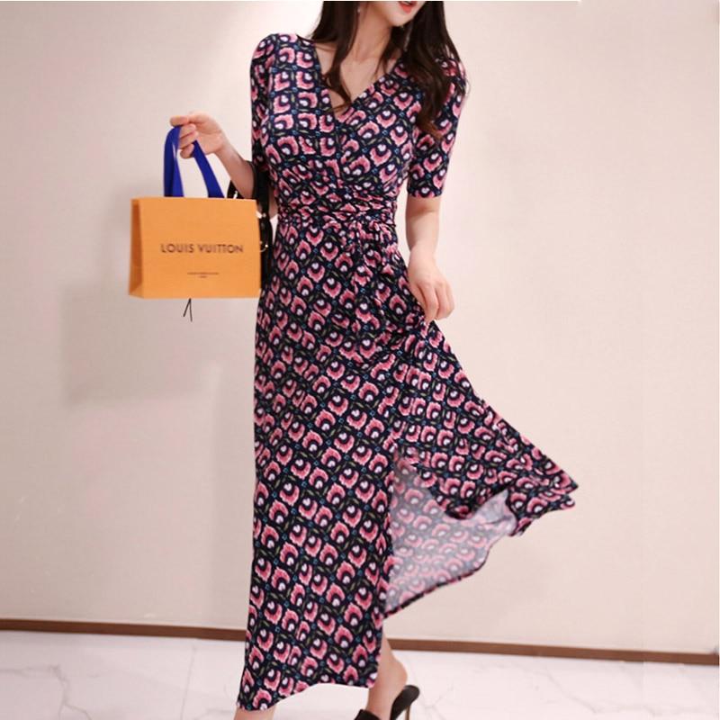 Summer 2020 new Korean version of the ladies' temperament V-neck lace up waist split print dress women