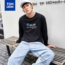TONLION Brand Clothes Mens Sweatshirts No Hood Black Letter Print Pullovers O Neck Loose Tops for Male Hoodies 2020 Spring New