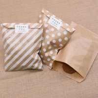 25 pièces sacs en papier Kraft traiter sac de bonbons Chevron sacs à pois pour mariage anniversaire fête de pâques fête faveurs Supplie sac cadeau