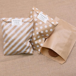 25pcs Kraft Paper Bags Treat Candy Bag Chevron Polka Dot Bags for Wedding Birthday Easter Festival Party Favors Supplie Gift Bag(China)