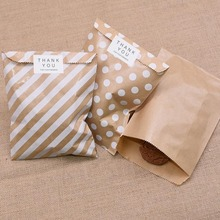 25pcs Kraft Paper Bags Treat Candy Bag Chevron Polka Dot Bags for Wedding Birthday New Year Party Favors Supplies Gifts Bags