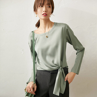 High Quality 100% Silk Blouse Women Shirt Solid Lace up Elegant Design O Neck Long Sleeve 2 Colors Casual Top New Fashion