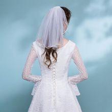 Тюль свадебное платье вуаль Белая лента Край Стразы искусственный жемчуг Короткие свадебные волосы вуаль гребень невесты Фея Свадебные аксессуары