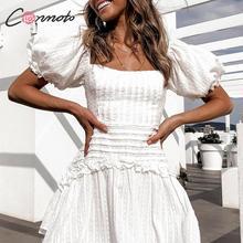 Conmoto Sexy Backless krzyż zasznurować biała krótka sukienka kobiety wysoka talia Slim plisowana Mini sukienka damska Casual Polka Dot Vestidos