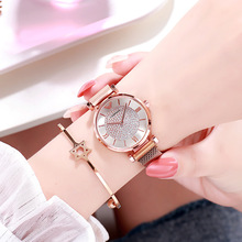 все цены на Ladies Quartz Rose Gold Wrist Watches For Women Brand Magnetic Watch Female Luxury Diamond Dress Waterproof Women Clock hodinky онлайн