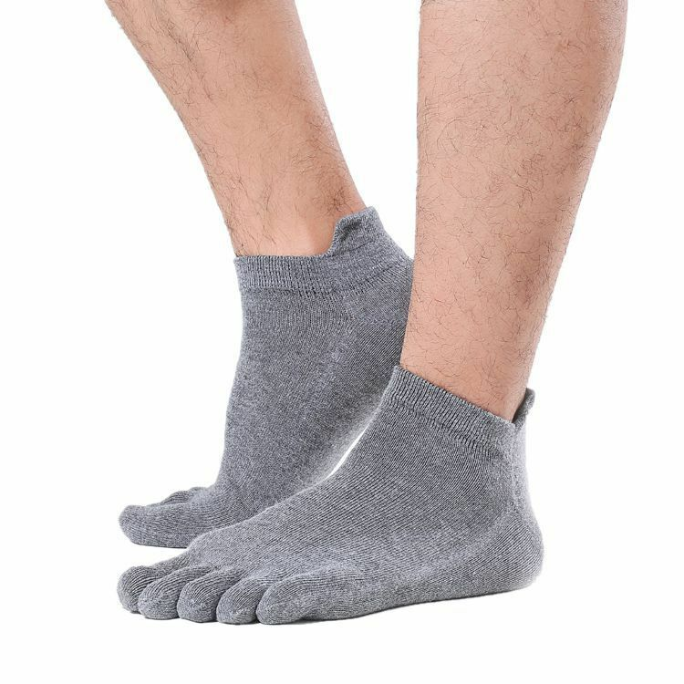 1 Pair Men's Five Finger Toe Separate Socks Soft Cotton Breathable Elastic Comfortable Solid Ankle Socks