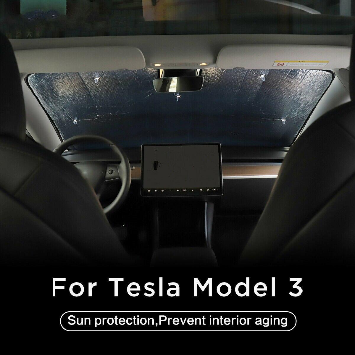 새로운 프론트 윈도우 윈드 실드 Sun Shade 차양 차 채광창 블라인드 쉐이딩 넷 프론트 윈드 실드 테슬라 모델 3