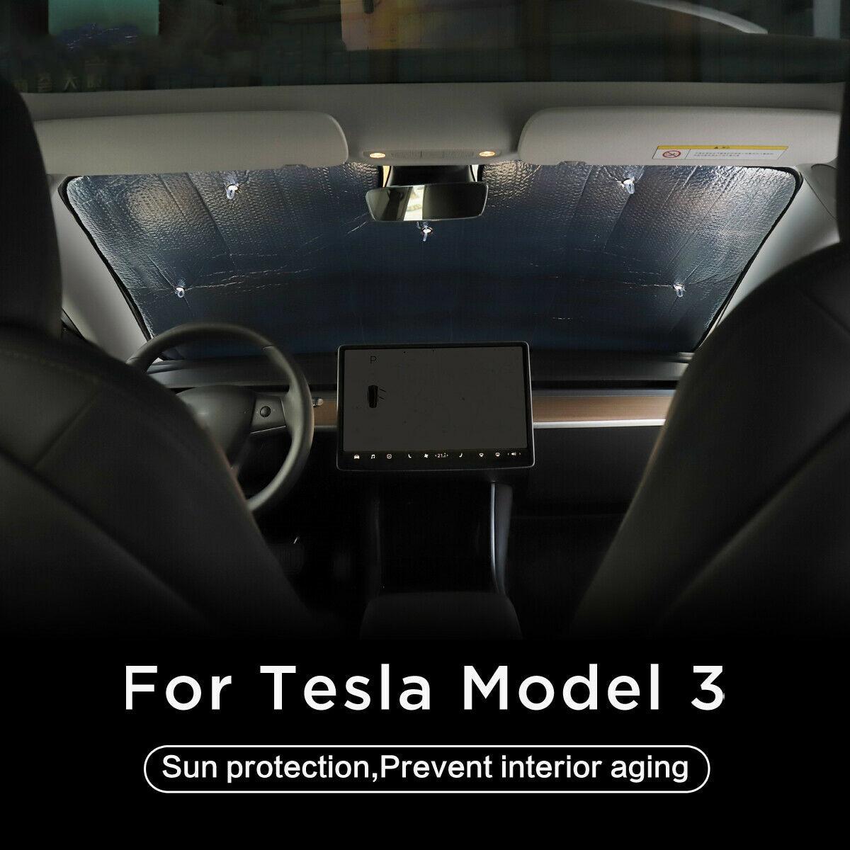 Nuevo de ventana, de parabrisas delantero sol sombra parasol para ventanillas de coche tragaluz ciego sombreado neto frente parabrisas para Tesla modelo 3