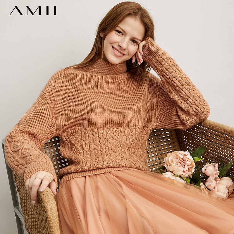 Amii Minimalist Fashion Fashion Trend Sweater Women's New Winter High Neck Off Shoulder Sleeve Twist Twist Twist Top 11930390
