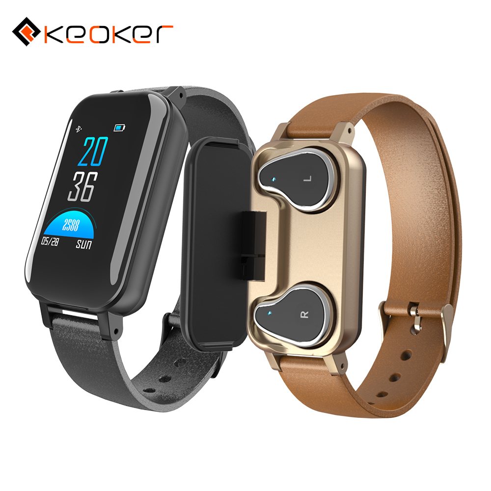 Keoker T89 NEW Bluetooth Earphone Smart Bracelet Heart Rate Blood Pressure Monitor Call Message Reminder Smart watch Men Women|Smart Watches|   - AliExpress
