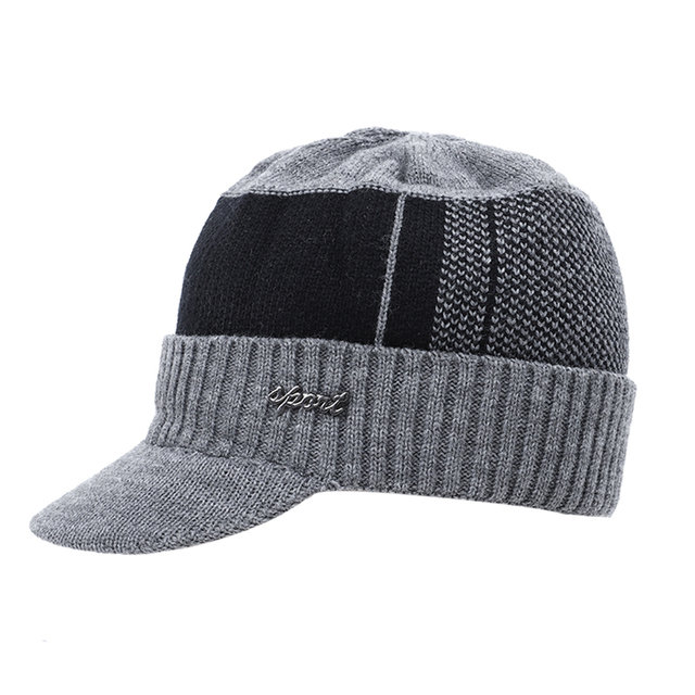 2019 New High Quality Winter Knit Beanie Scarf 2 Pieces Set Thick Lining Plus Velvet Men's Visor Hat Warm Dad Cap Soft Balaclava 3