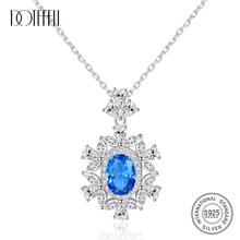 DOTEFFIL Gorgeous Big Flower Pendant Necklace for Women 100% 925 Silver Charming  Necklace Wedding Fine Jewelry gorgeous artificial crystals rhinestones oval necklace for women