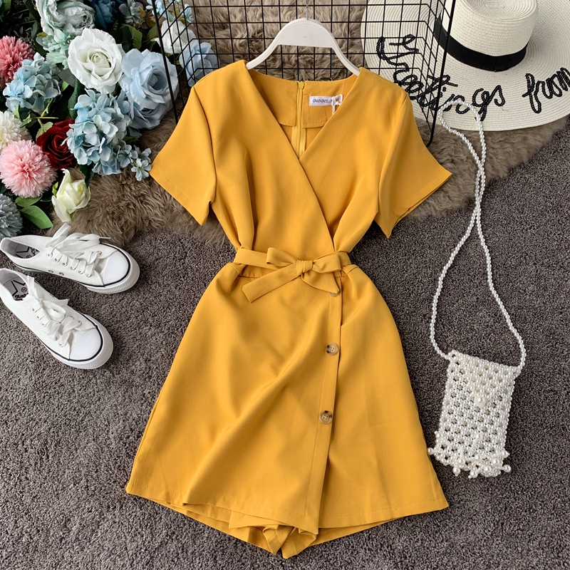 ALPHALMODA 2020 V-neck Single Breasted Fashion Short-sleeved Playsuit Slim Fit Solid Color Ladies Chic Jumpsuit