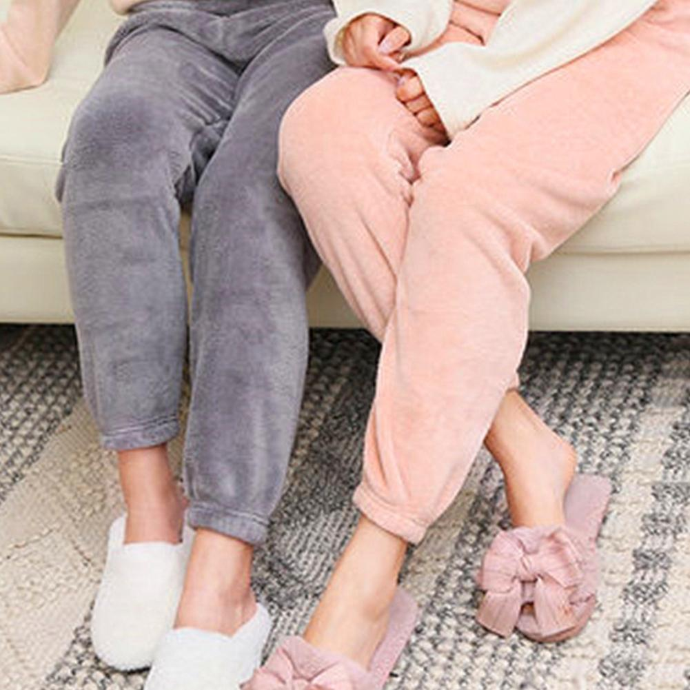 Fashion Leisure Lady Solid Color Elastic Waist Ankle Tie Warm Coral Fleece Pajama Pants Trousers