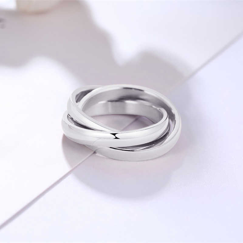 เงิน Triple Rolling แหวนผู้หญิงสแตนเลสหมั้น STACKABLE 3 In 1 ชุดแหวน