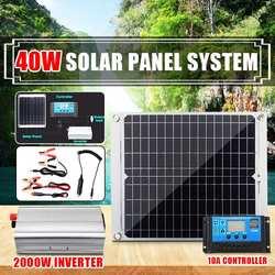 2000W System energii słonecznej 40W Panel słoneczny podwójny USB ogniwo słoneczne z 10A kontroler słoneczny 2000W przetwornica napięcia zestaw do organizacji domu