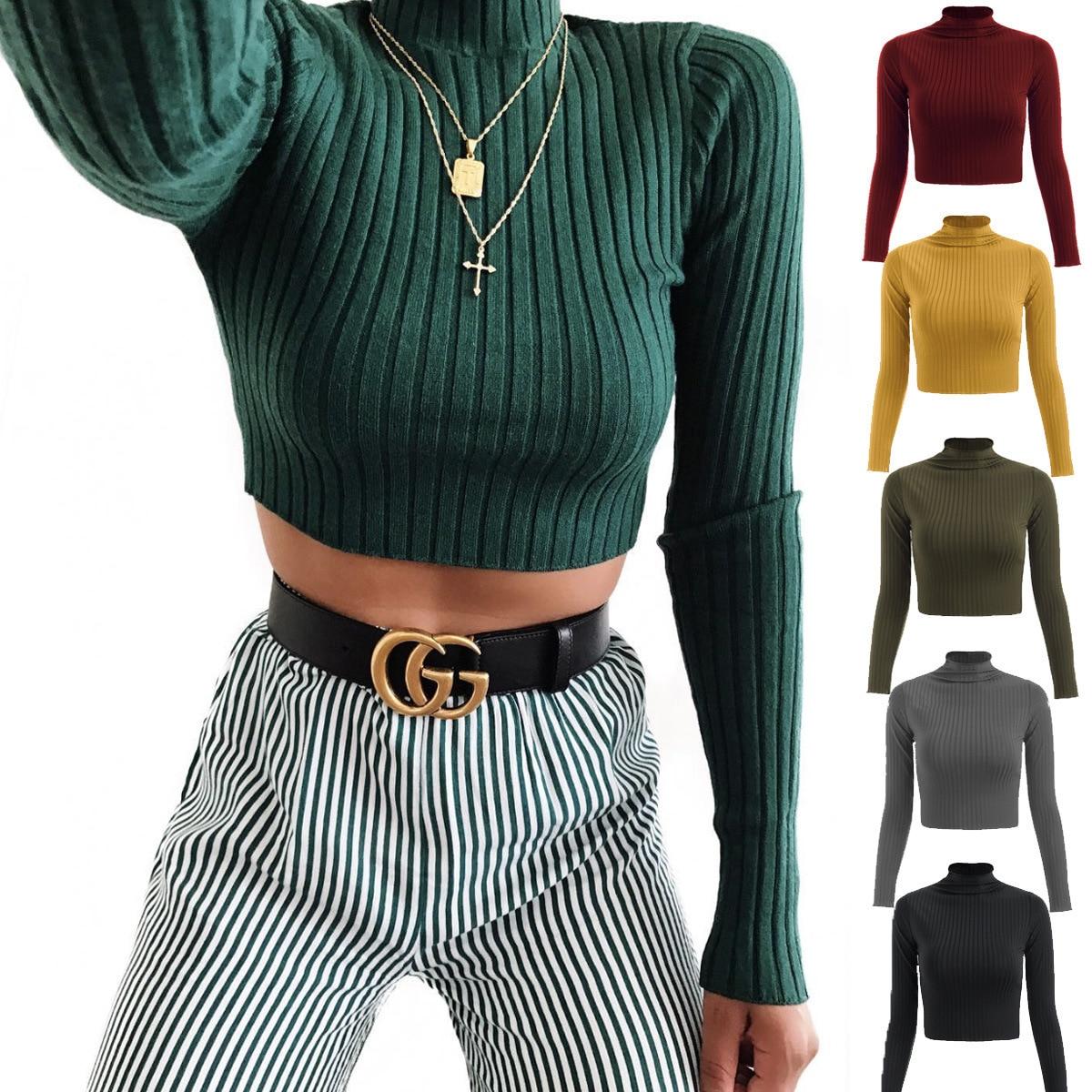 T-Shirt Women Turtleneck Spring Long-Sleeve Hilum Autumn WSL3201 Show Pure-Color New