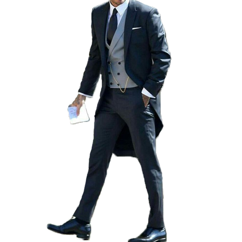 Longcoat Tuxedos Mens Suits For Wedding Business Suit  Best Man Wear Custom Made Peaky Blinders Three Pieces(Jacket+Pants+Vest)