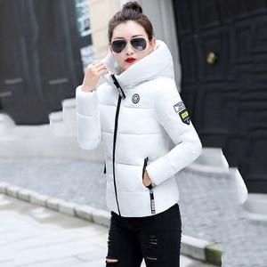 Image 3 - Winter Parkas Women 2020 jesień Plus rozmiar 5XL kurtka gruby kaptur ciepła krótka odzież wierzchnia kobieta cienka bawełna wyściełana top prosty ZH084