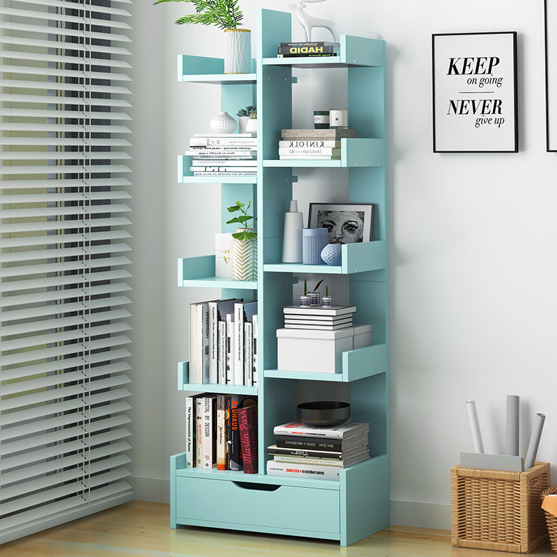Simplicity Bookcase Bookshelf Minimalist Modern Floor Storage Shelf Assembly For Student Creative Small Cabinet Household Table