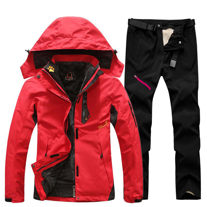 Ski Suit For Women Outdoor Waterproof Thermal 2 In 1 Snowsuit Skiing And Snowboarding Jackets Sets Plus Size Women's Winter Suit