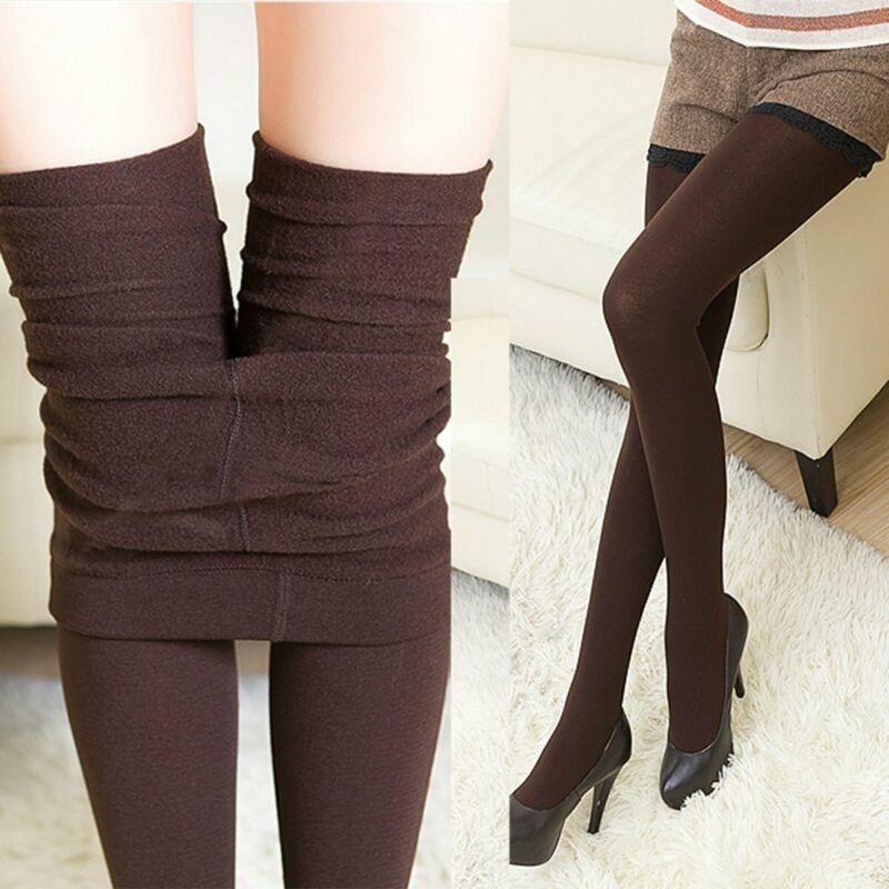 Women Autumn Winter Thermal Leggings Solid Skinny Stretchy Warm Thick Fleece Slim Fit High Waist  Female Leggings