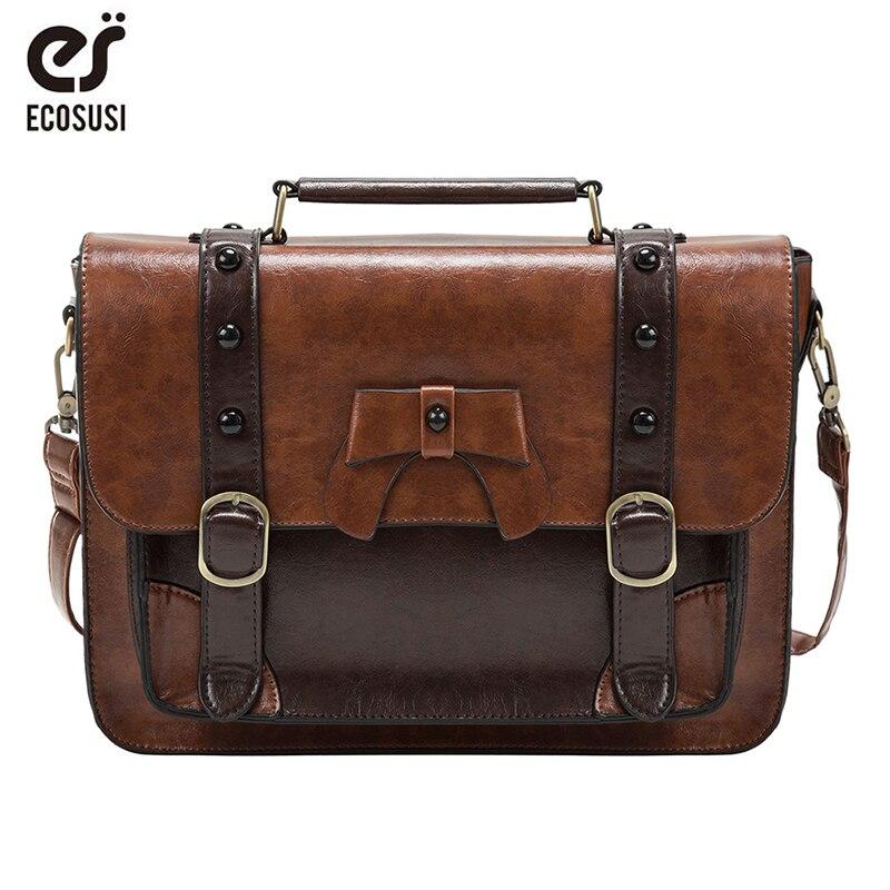 Ecosusi 12.6 Inch Women Messenger Bag Crossbody PU Leather Bag Rivet Shoulder Bag Handbags Casual Vintage Bag Satchel Brand Bag
