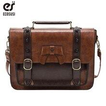 Женская сумка мессенджер Ecosusi, повседневная винтажная сумка через плечо из искусственной кожи с заклепками, 12,6 дюйма