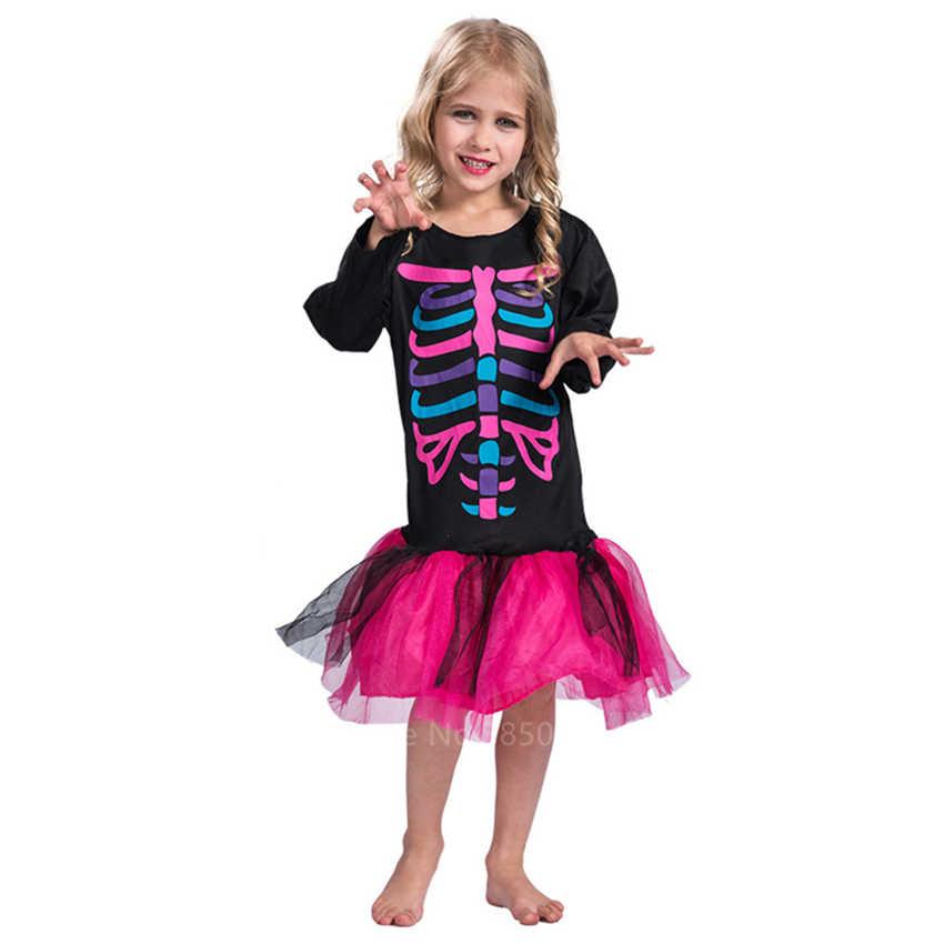 Crianças Esqueleto Day of The Dead Assustador Cosplay Saias Tutu Bebê Vestido Da Menina Da Bruxa do Dia Das Bruxas Diabo Cosplay Partido Do Disfarce de Carnaval