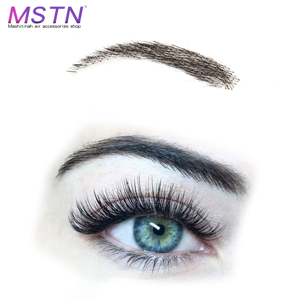MSTN Handmade Hair False Eyebrows Black Color Lace Base For Party Wedding Cosplay Fake Eyebrow Synthetic Eyebrows For Women
