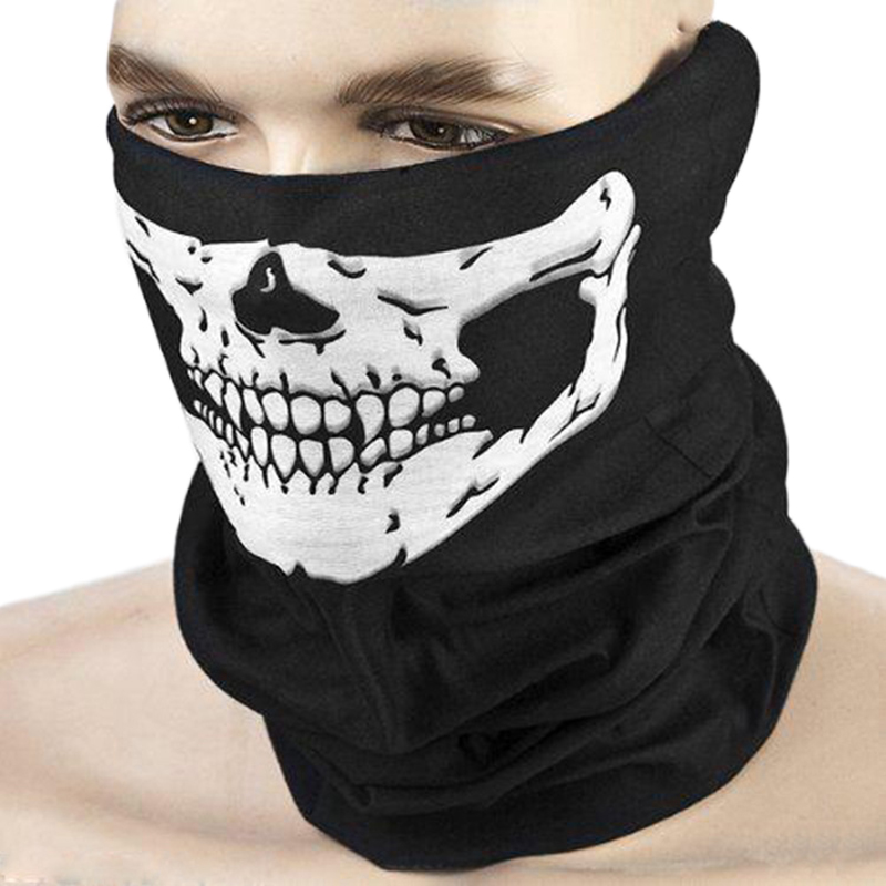 Cycling Face Cover Winter Face Mask Scarf Warm Ski Face Mask Scarf Fishing Sports Air Half Mask Skeleton Skull Neck Guard Black