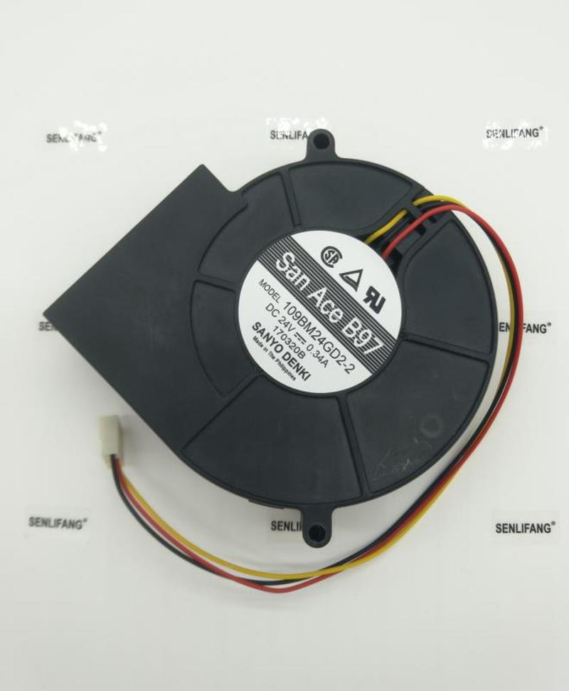Free Shipping For Sanyo Denki 109BM24GD2-2 DC 24V 0.34A 97x97x33mm 3-Wire Server Cooling Fan